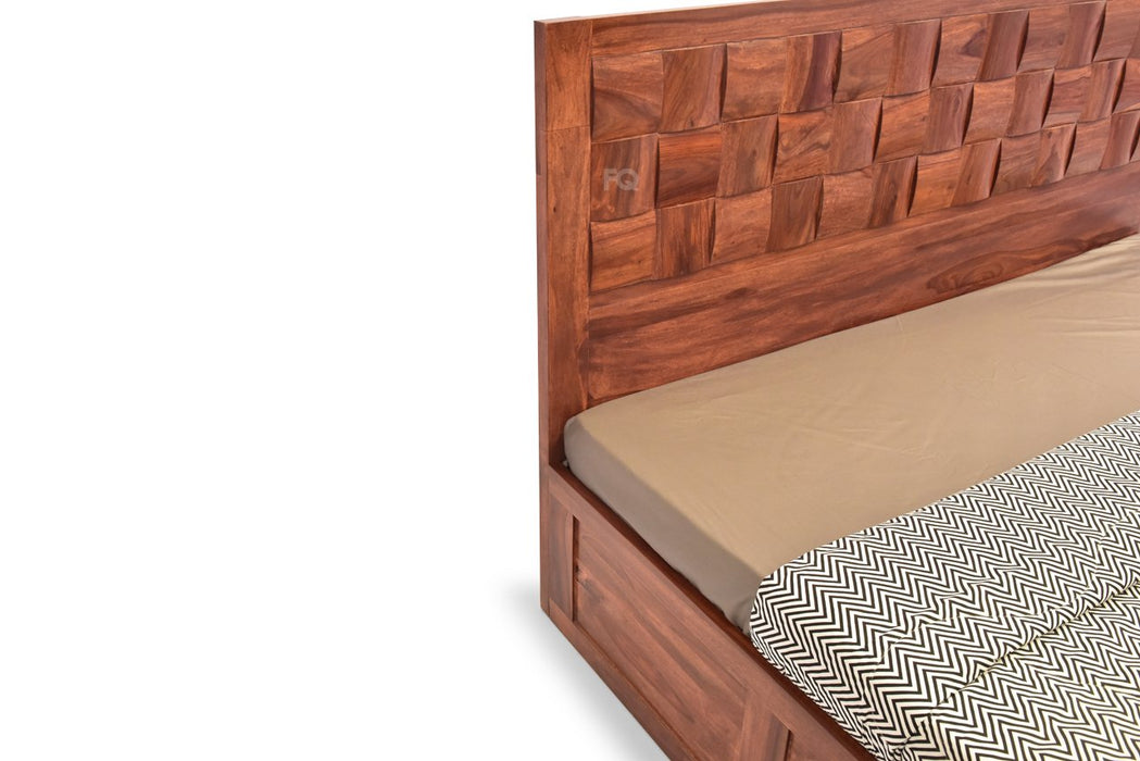 Nelson Bed With Full Manual Storage in Teak Finish