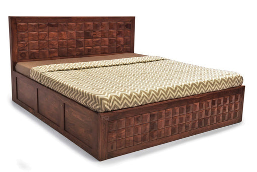 Diamond Bed With Half Hydraulic Storage in Teak Finish
