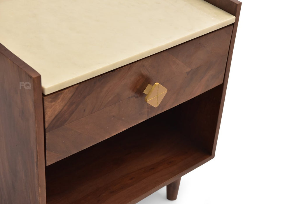 Milan Bed Side Table in Teak Finish