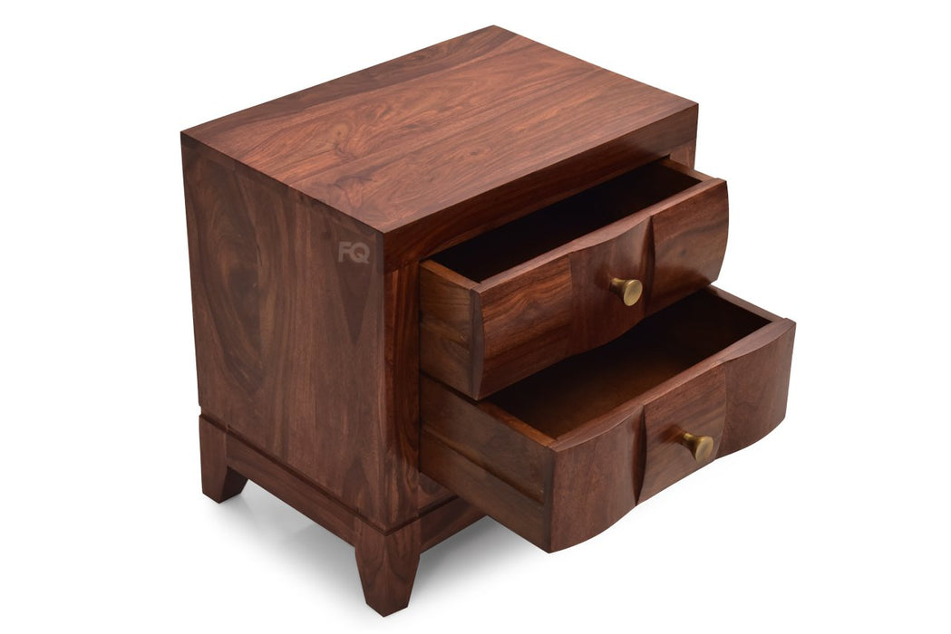 Nelson Bed Side Table in Teak Finish