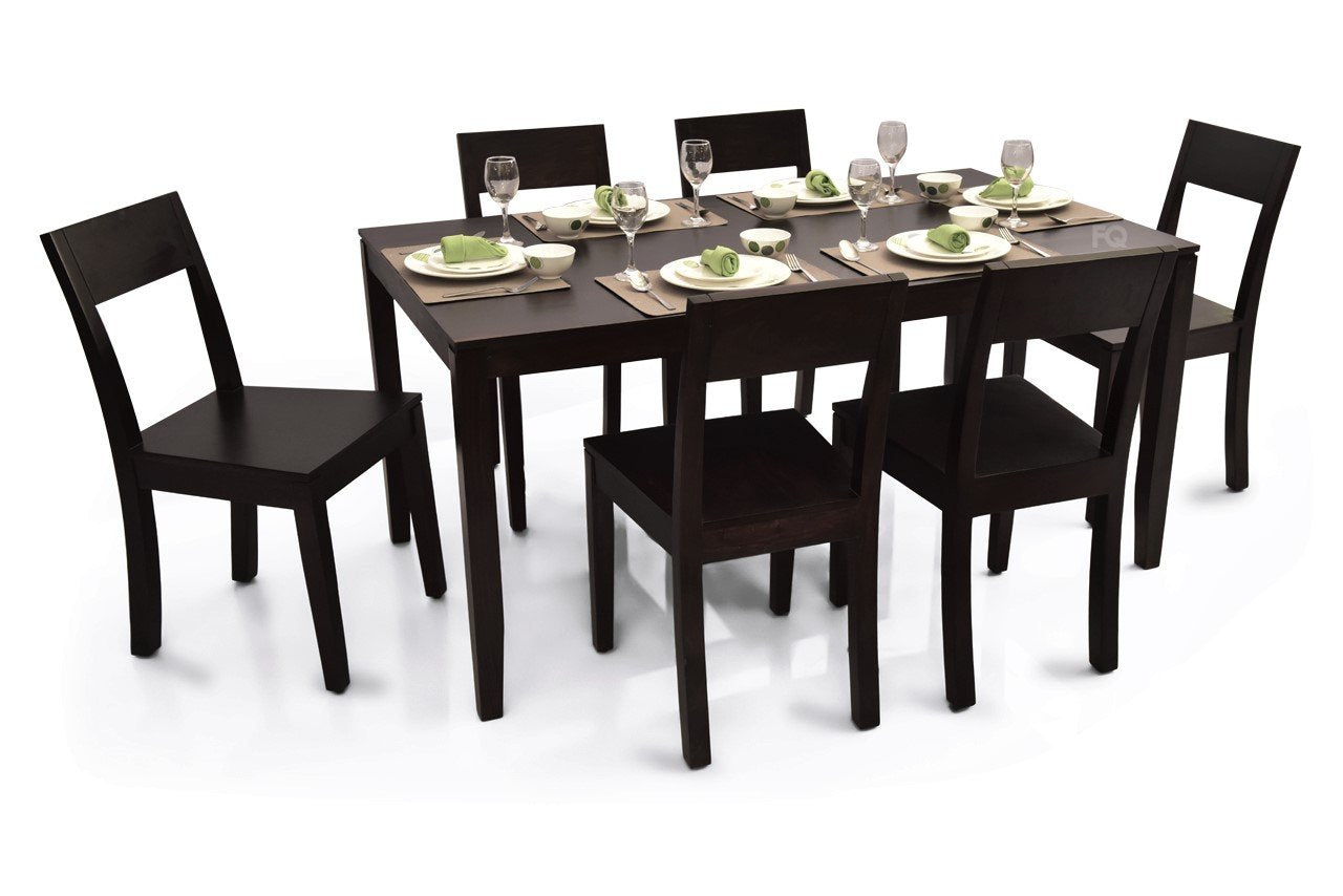 Zoe 6 Seater Dining Set in Mahogany Finish
