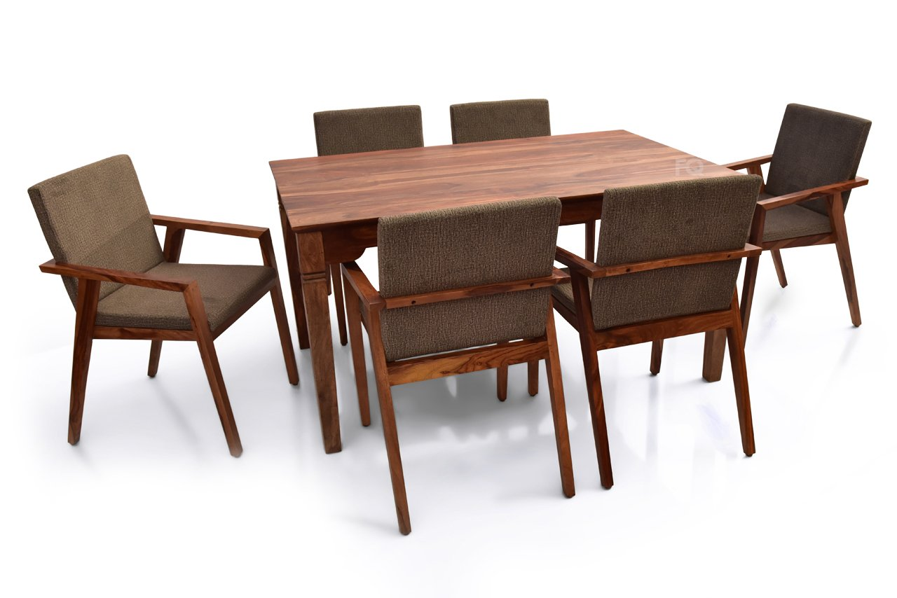 Arnold - Max 6 Seater Dining Set in Teak Finish