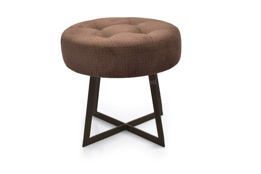 Toshi Round Sitting Stool in Brown Fabric