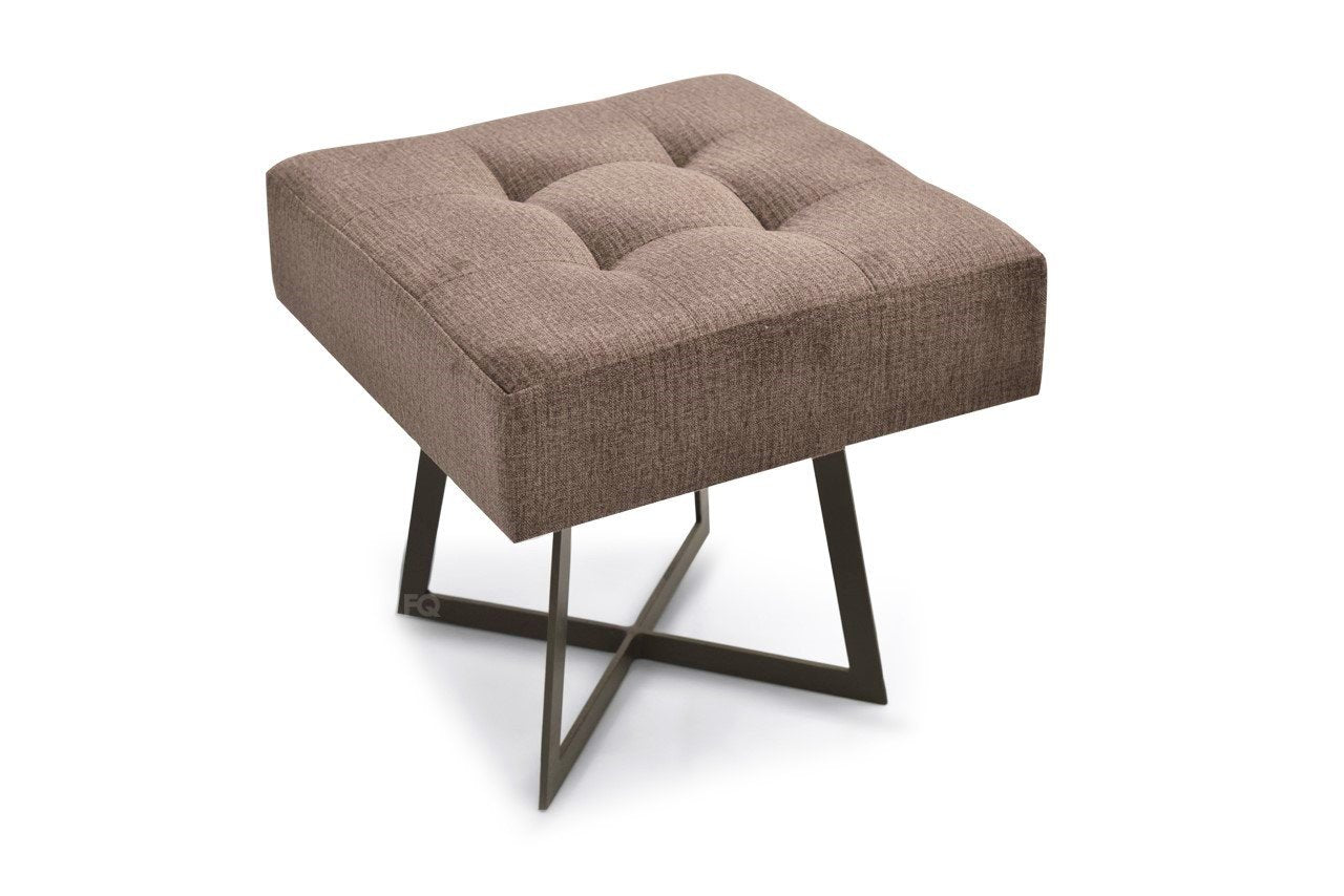 Toshi Square Sitting Stool in Brown Fabric