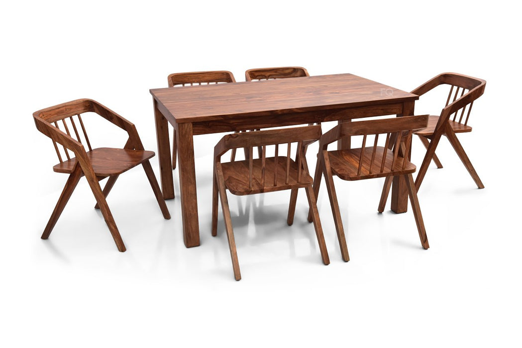 Leo - Skye 6 Seater Dining Set in Teak Finish