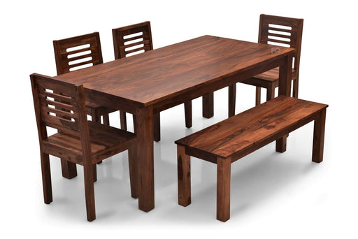 Leo XL - Ricky 6 Seater Dining Set With Bench in Teak Finish
