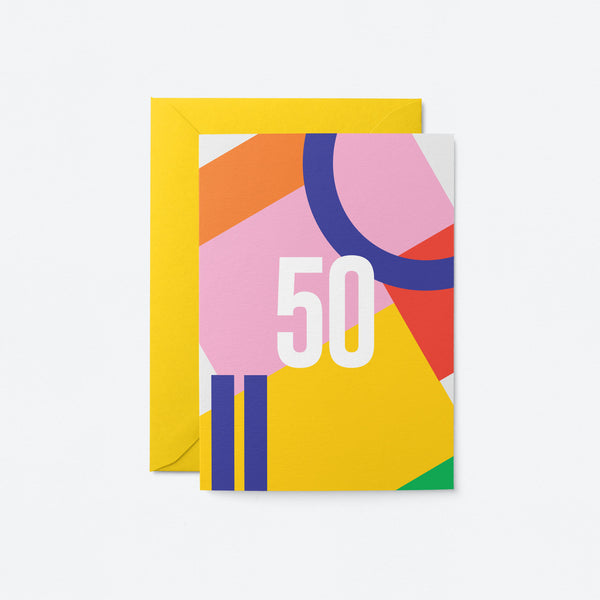 50 Birthday Greeting Card by Graphic Factory