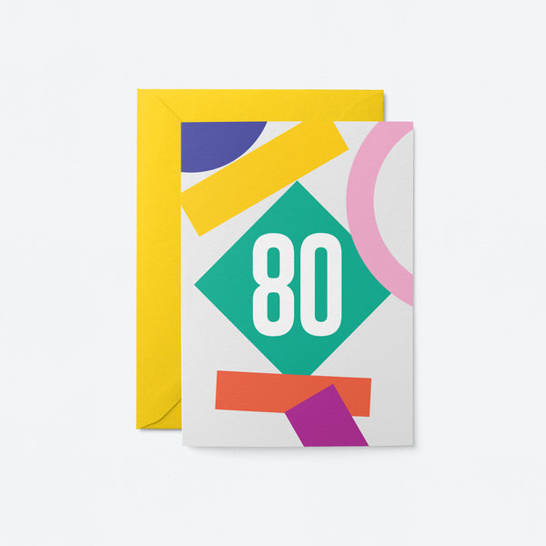 80 Birthday Greeting Card by Graphic Factory