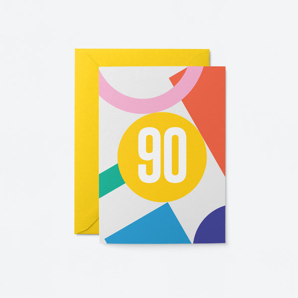 90 Birthday Greeting Card by Graphic Factory