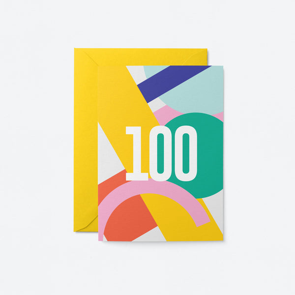 100 Birthday Greeting Card by Graphic Factory