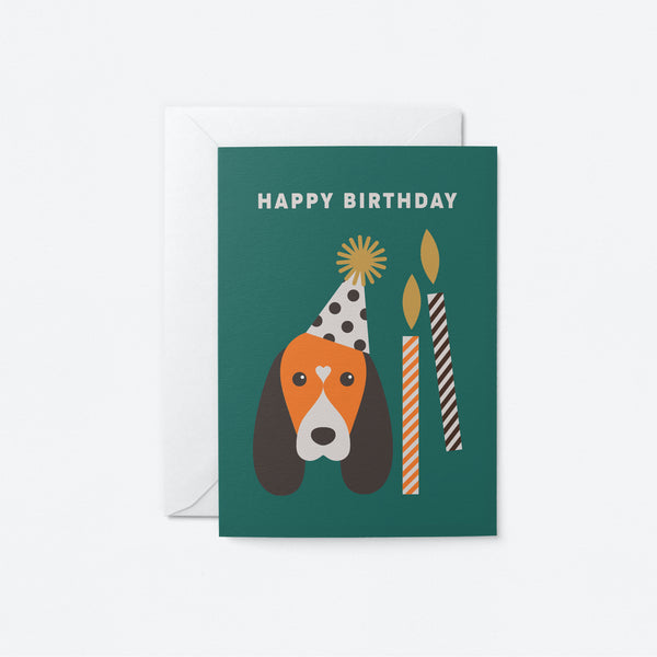 Party Dog Greeting Card by Graphic Factory