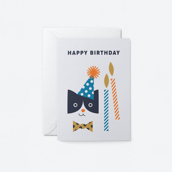 Party Cat Greeting Card by Graphic Factory