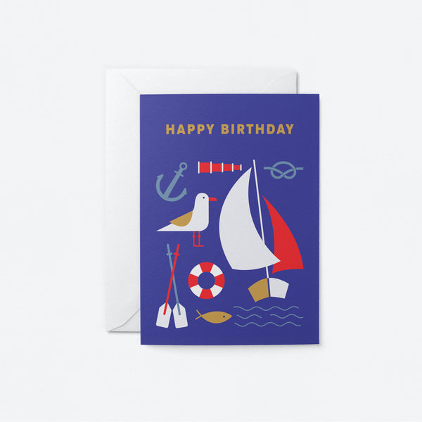 Happy Birthday Sailor Greeting Card by Graphic Factory