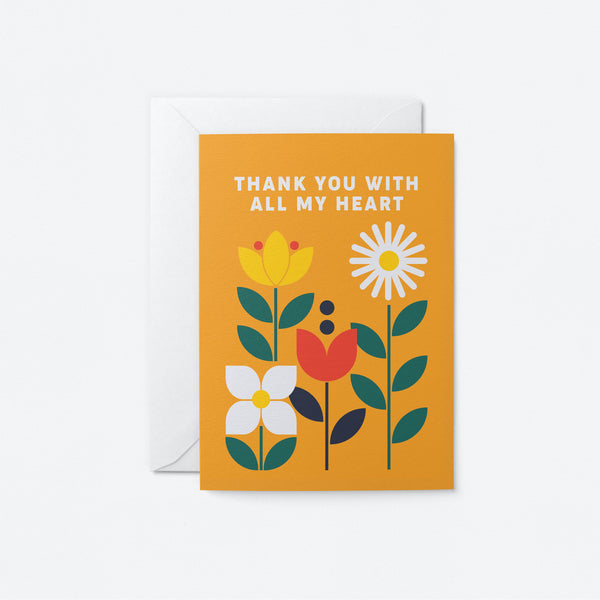 Thank you with all my heart Greeting Card by Graphic Factory