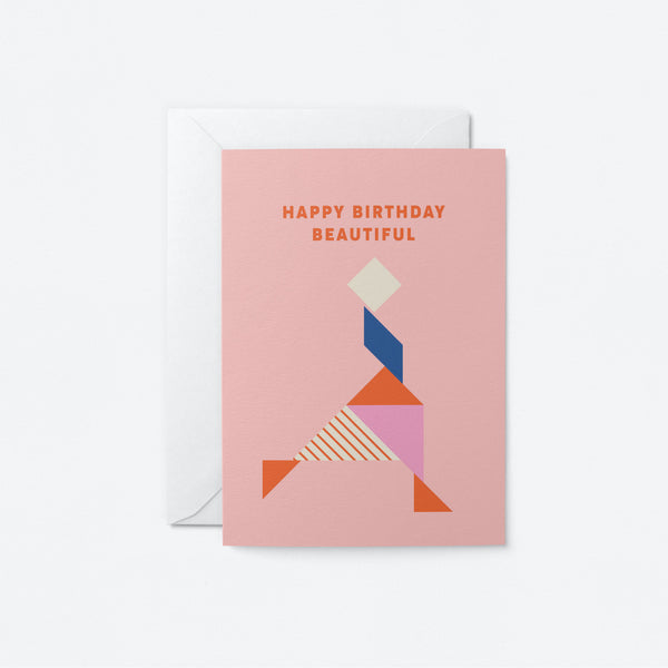 Happy Birthday Beautiful Greeting Card by Graphic Factory