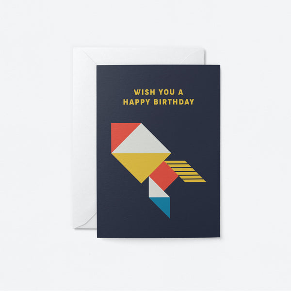 Wish you a happy birthday Greeting Card by Graphic Factory