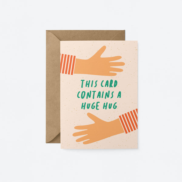 This card contains a huge hug Greeting Card by Graphic Factory