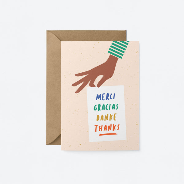 Merci, Gracias, Danke, Thanks Greeting Card by Graphic Factory