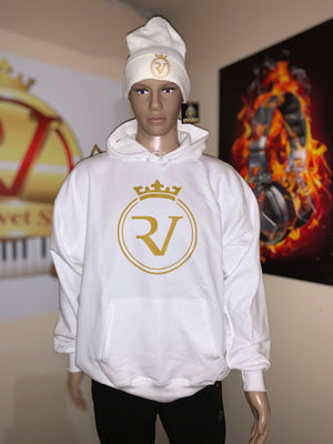 RV White / Gold Logo Ultimate Cotton® Heavyweight Pullover Hoodie -Beanie Sold Separately