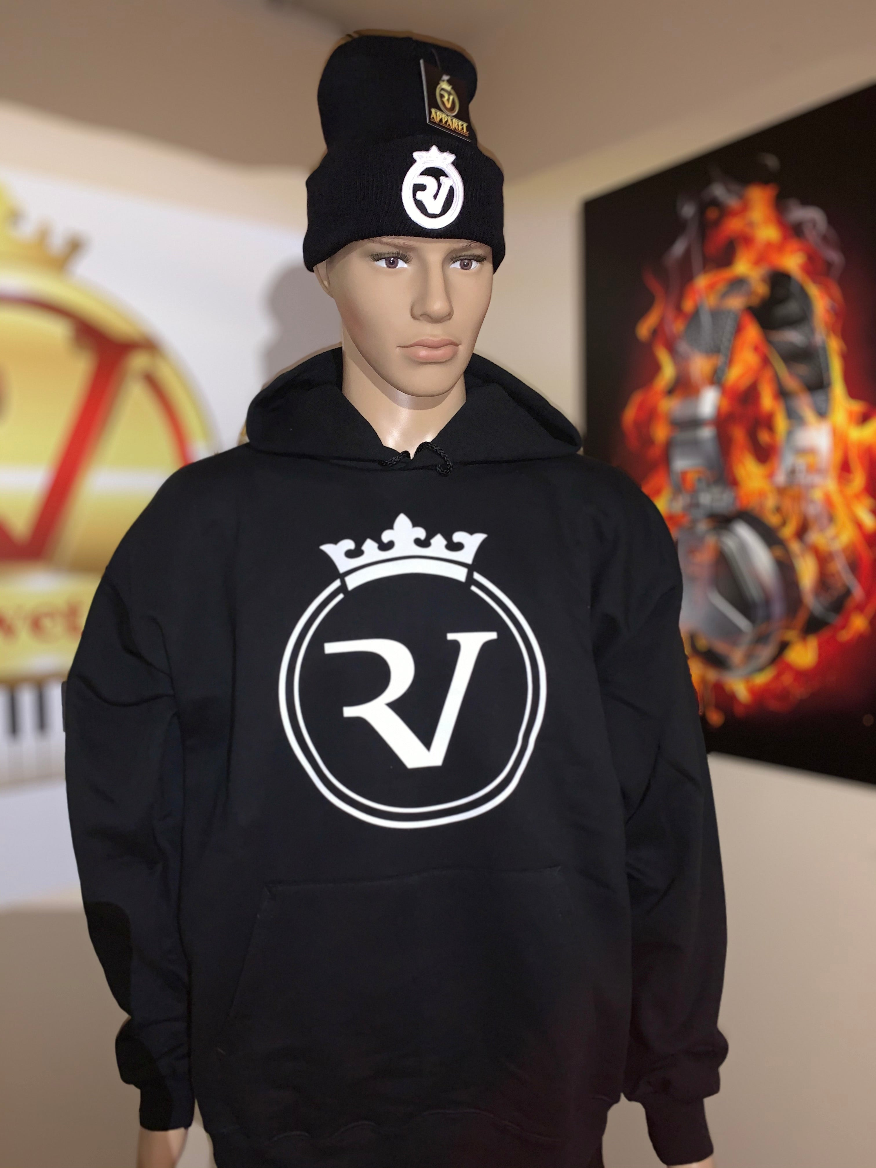 RV Unisex Black/White Logo Ultimate Cotton® Heavyweight Pullover Hoodie -Beanie Sold Separately