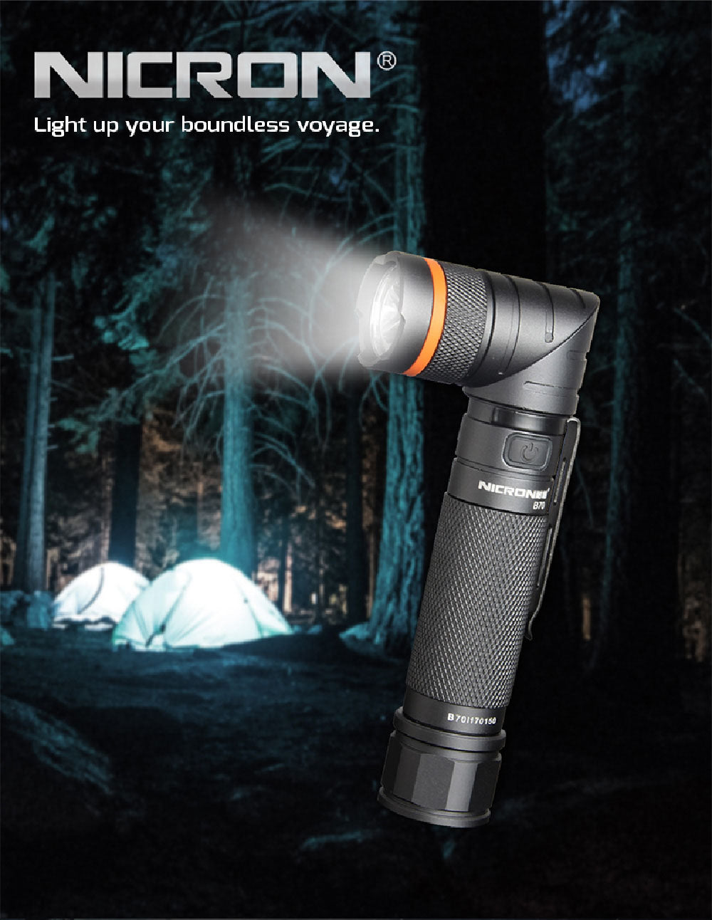 Nicron Flashlight B70 High Brightness Magnetic Twist Led Flashlight with 9 Modes