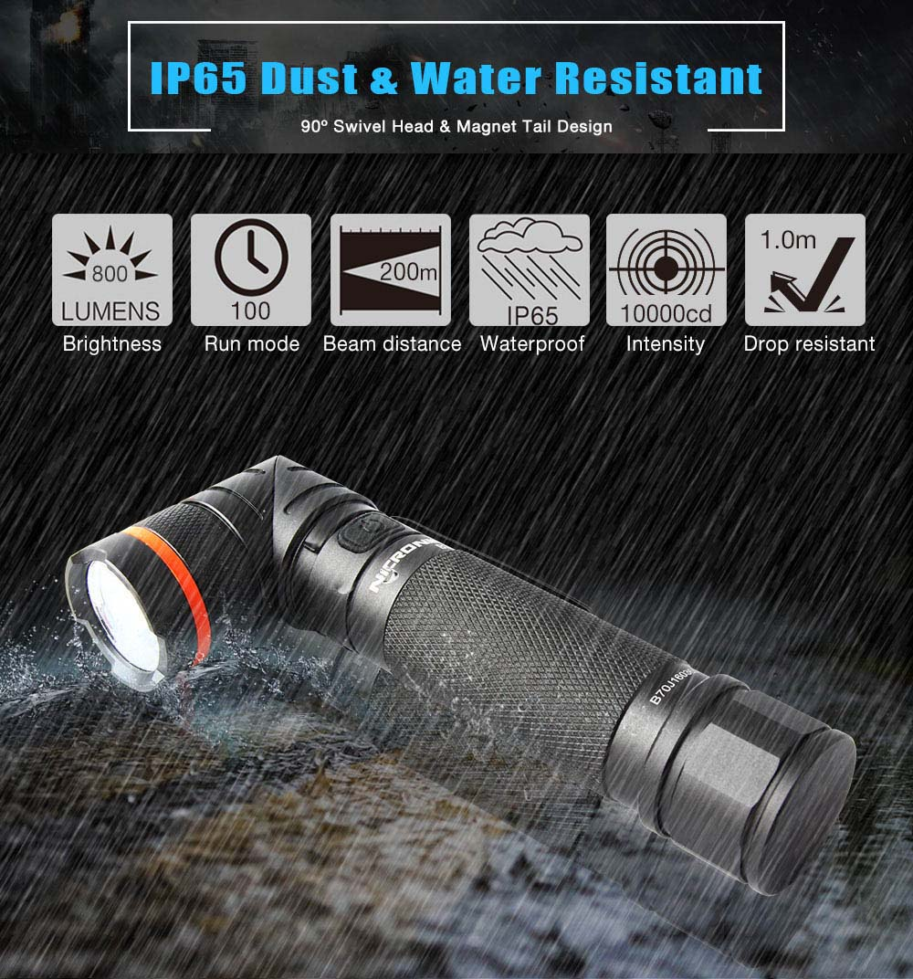 Nicron Flashlight B70 High Brightness Magnetic Twist Led Flashlight with 9 Modes Outdoor Gear