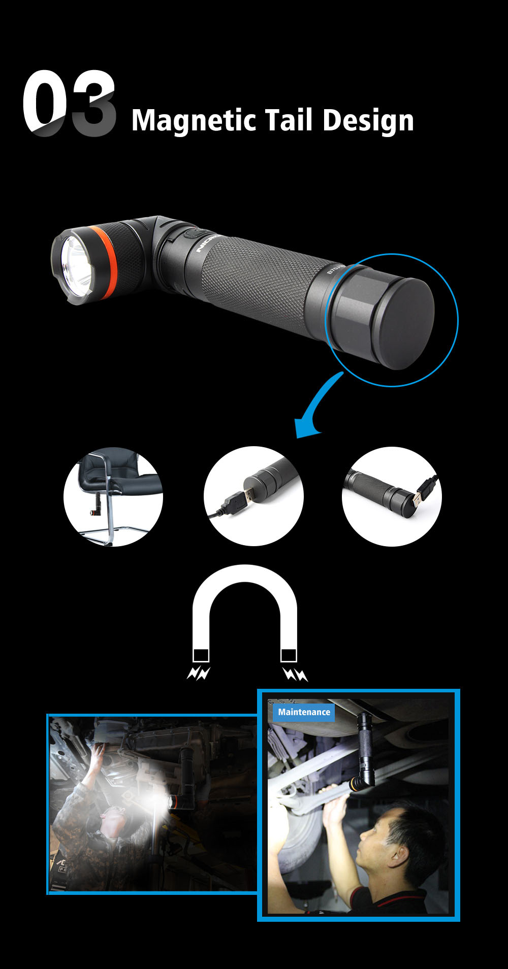 Nicron® High Lumen Magnetic Twist Rechargeable Led Flashlight B70
