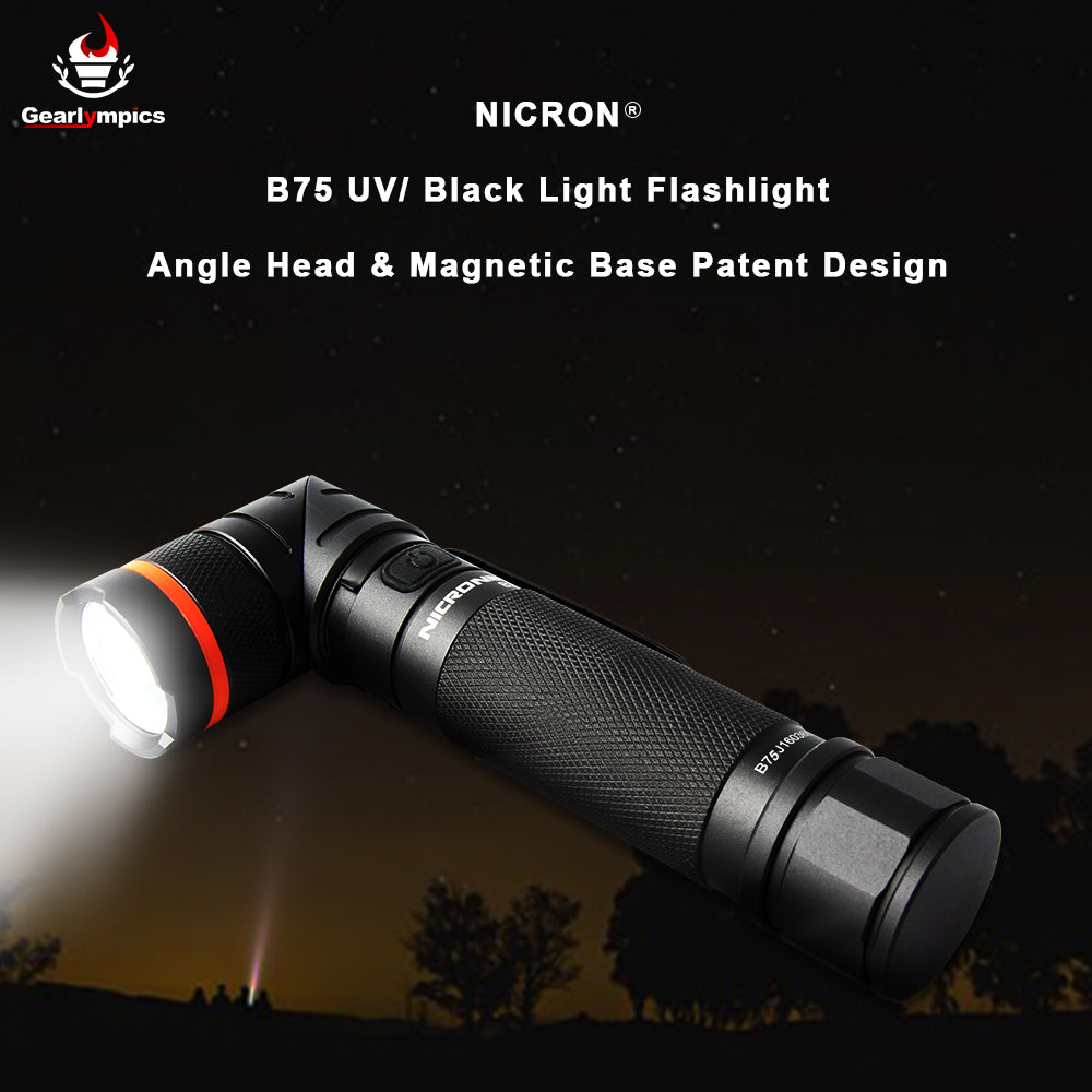 Nicron B75 Black Light Flashlight with Magnetic Head Waterproof Ultraviolet Flashlight