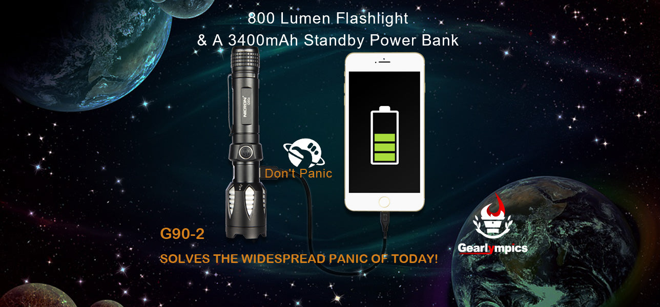 G90-2 the Power Bank Flashlight Gearlympics Flashlight
