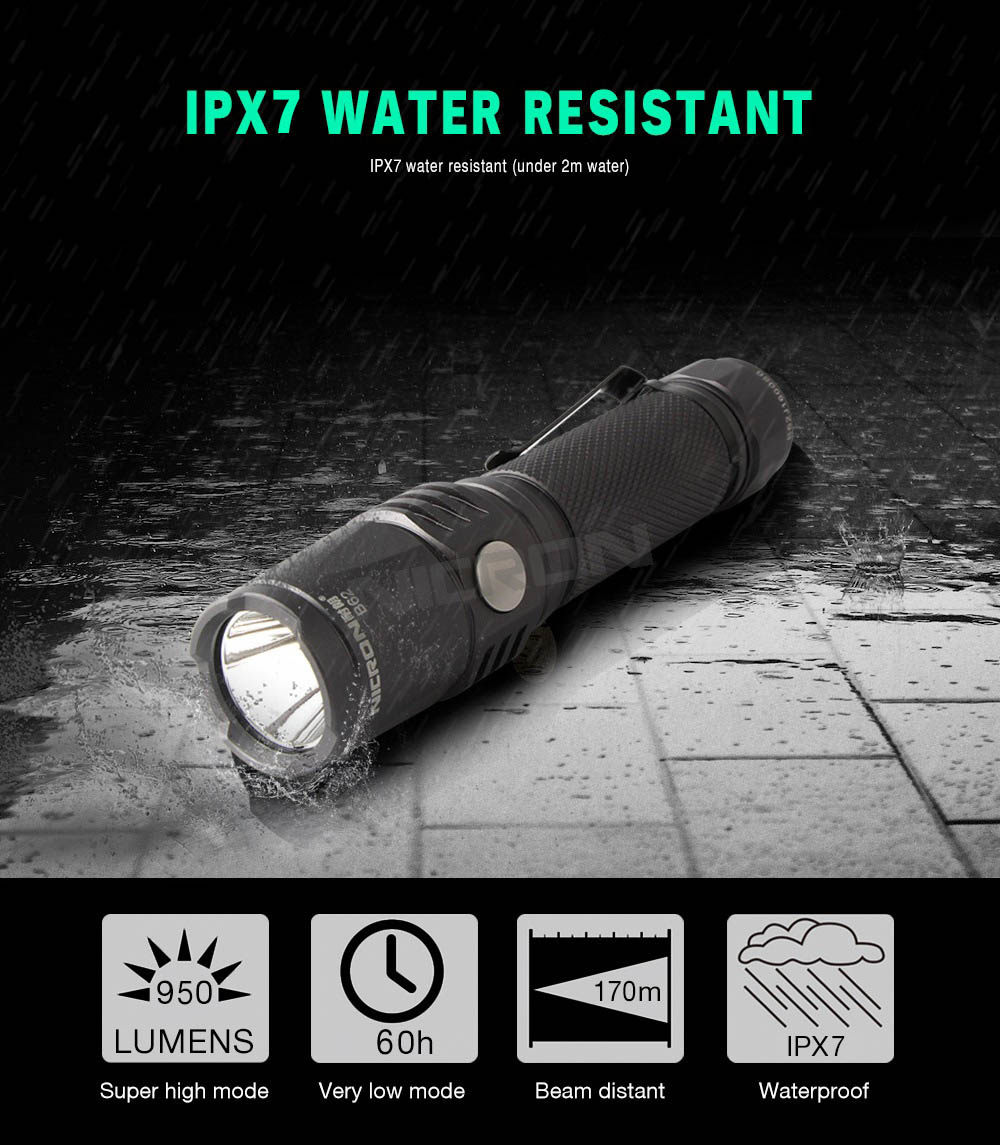 Nicron B62 Portable Waterproof Flashlight