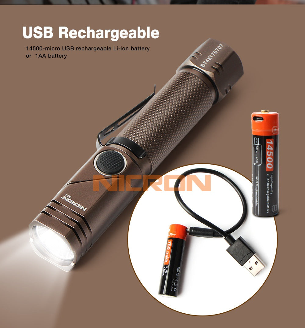 Nicron Twist Magnetic Rechargeable Led Flashlight B74 Latest Version 600 Lumen
