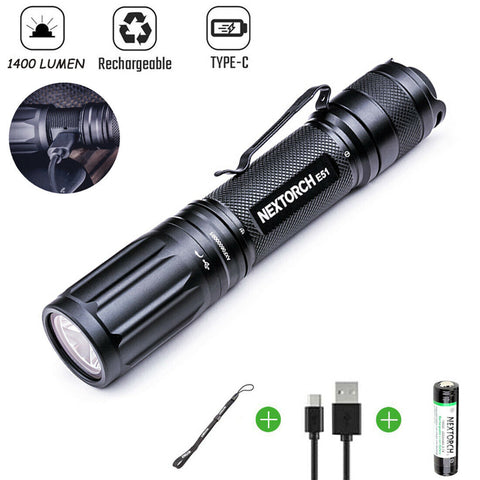 NEXTORCH 1400 Lumens Type-C Rechargeble Led Tactical Flashlight 18650 Torch