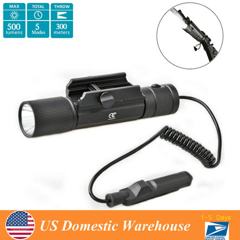 5 Modes LED Flashlight Handgun Light Rifle Rail-Mounted Light