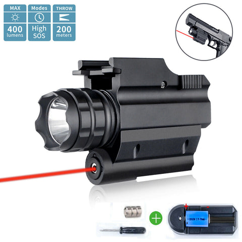 Compact Hunting Red Laser Gun Pistol Light Sight Combo Rail LED Flashlight 16340