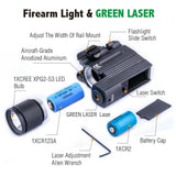 500LM Hunting Green Red Laser Pistol Handgun Light Sight Combo LED Flashlight