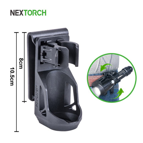 "NEXTORCH 360 Degree Tactical Flashlight Holster Angle Rotatable Tactical  Duable Flashlight Holder V5 for 1""-1.25"" Flashlight"