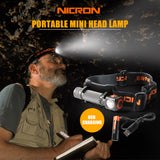 NICRON Mini Rechargeable LED Headlamp 130Lm 75M Long Beam Waterproof IP65 Flashlight Headlight Torch Lamp For Camping H10R