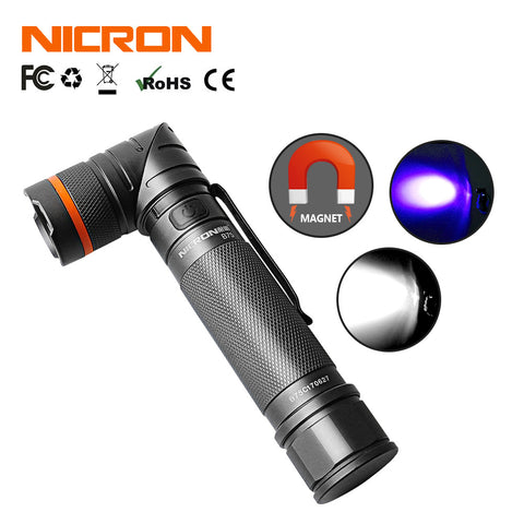 NICRON Black Light Flashlight Magnetic Adjustable Head Flashlight B75