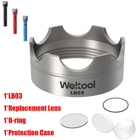 Weltool 304 Stainless Steel Strike Bezel Lens For Maglite C / D Cell Flashlight