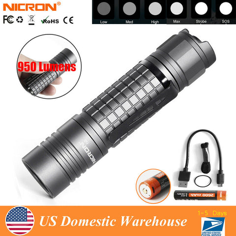 Nicron N8 Super Bright 950LM Cree LED Rechargeable Flashlight