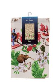 PARRS Tea Towel-Birds/Flowers Beige