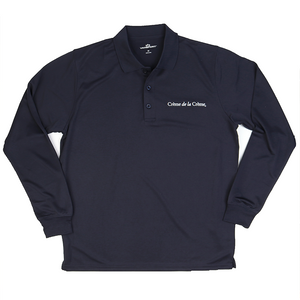 Mens Solid Long Sleeve Mesh Tech Polo - NAVY