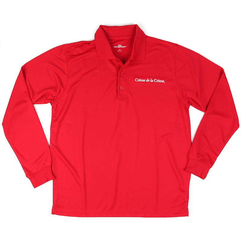 Mens Solid Long Sleeve Mesh Tech Polo - RED