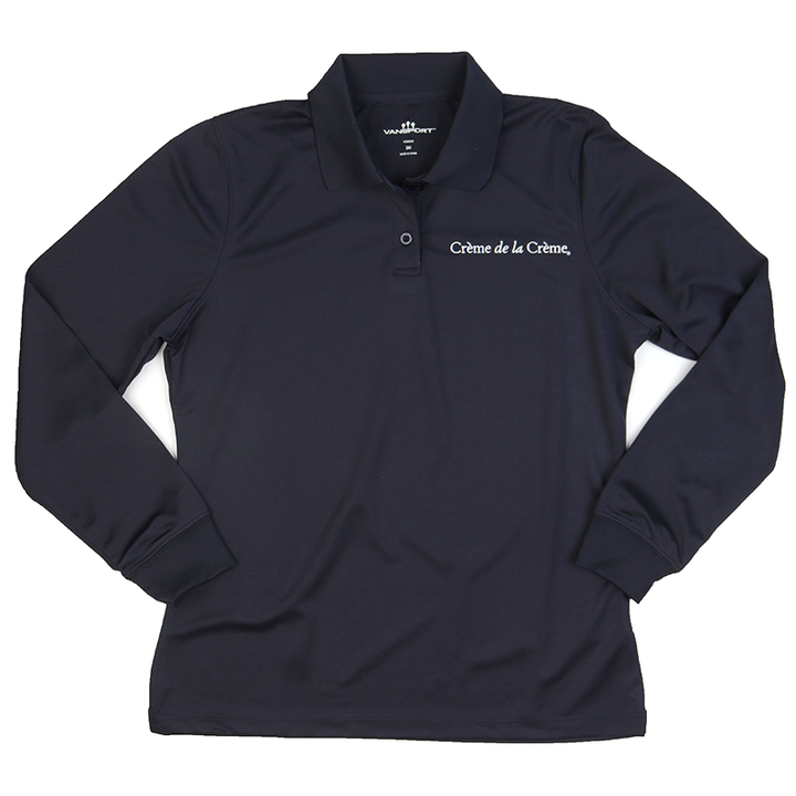 Ladies Solid Long Sleeve Mesh Tech Polo - NAVY