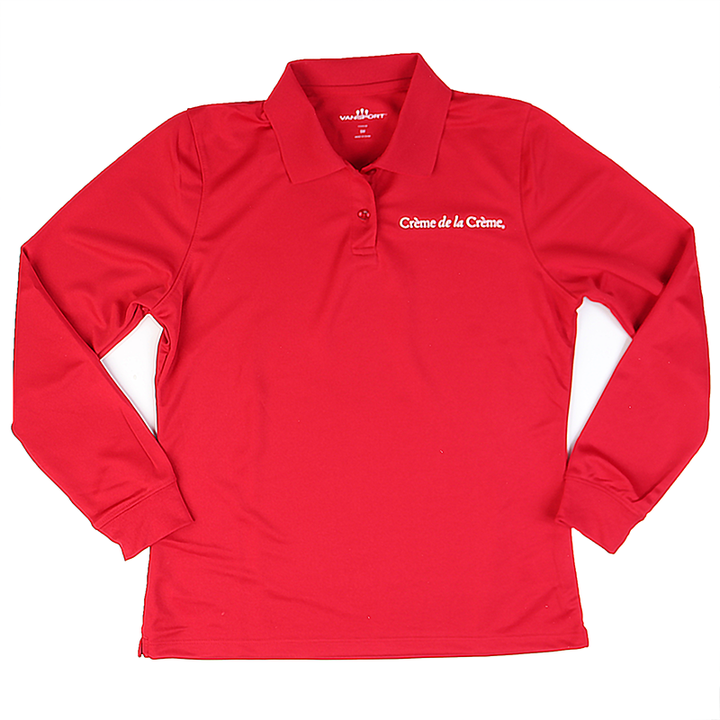 Ladies Solid Long Sleeve Mesh Tech Polo - RED