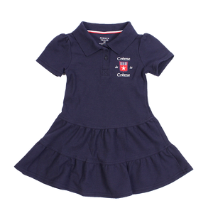 GIRL'S RUFFLED PIQUE POLO DRESS - NAVY