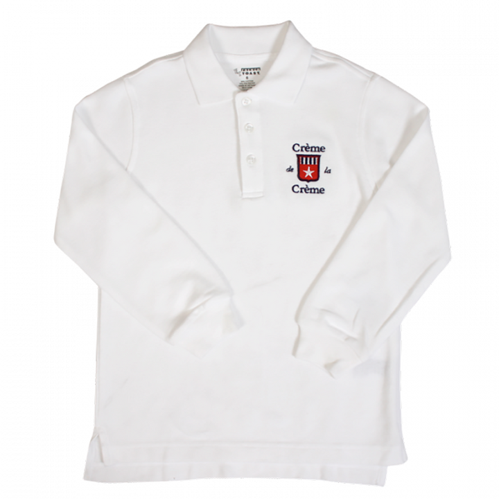 BOY'S LONG SLEEVE POLO - WHITE