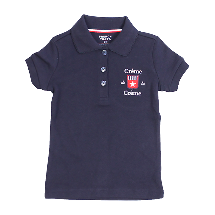 GIRL'S SHORT SLEEVE PICOT POLO - NAVY
