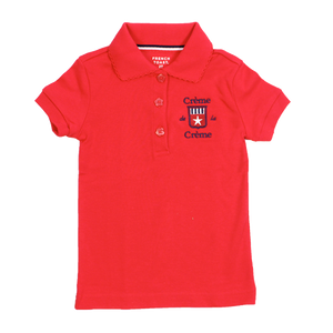 GIRL'S SHORT SLEEVE PICOT POLO - RED