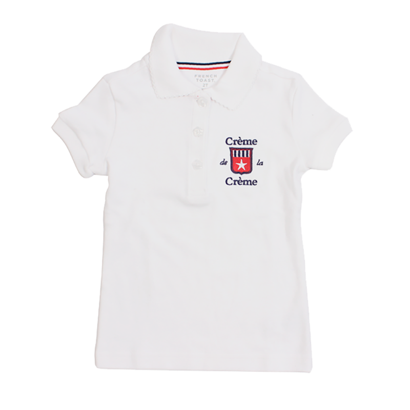 GIRL'S SHORT SLEEVE PICOT POLO - WHITE